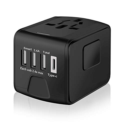 SAUNORCH S-199-Black Universal International Travel Power W/High Speed 2.4A USB, 3.0A Type-C Wall Charger, European, Worldwide AC Outlet Plugs Adapters for Europe, UK, US, AU, Asia-Black