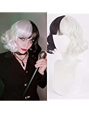 Short Black and White Wig with Bangs 2 Tone Black White Wigs Unisex Short Cosplay Wigs 12'' Short Curly Wavy Bob Hair Wig for Party Halloween Daily Use