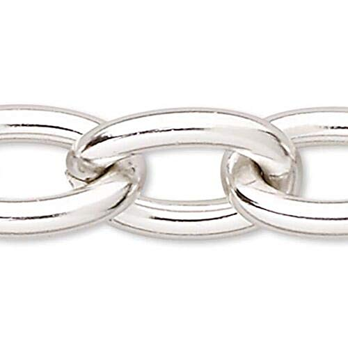 1 Feet Big Silver Anodized Cable Link Aluminum Chain with Open 11mm x 15mm Ovals