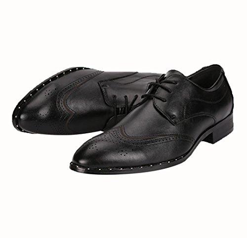 WZG Zapatos de hombre Bullock zapatos tallados de cuero del estilista zapatos elegantes del vestido elegante formal Zapatos del trabajo zapatos negros de los hombres señalados Black