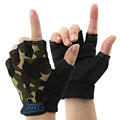Lightweight, breathable, shockproof, durable tops mesh & attractive appearance,kids fingerless gloves are fashionable and offer professional protection for children's hands. Perfect Accessories for Fishing ,Cycling ,Camping ,Hiking ,Runni...