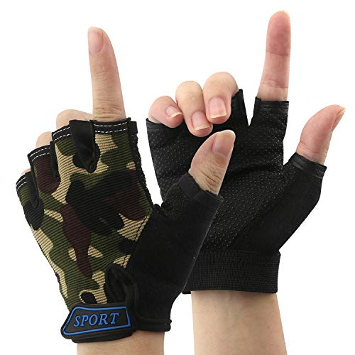 NATURE Ann Boy Girl Kid Child Children Half Finger Fingerless Short Shock-Absorbing No-Slip Pro Cycling Gloves Mitten for Cycling MTB Exercise Skate Skateboard Roller Skating Other Sports (Army Green)