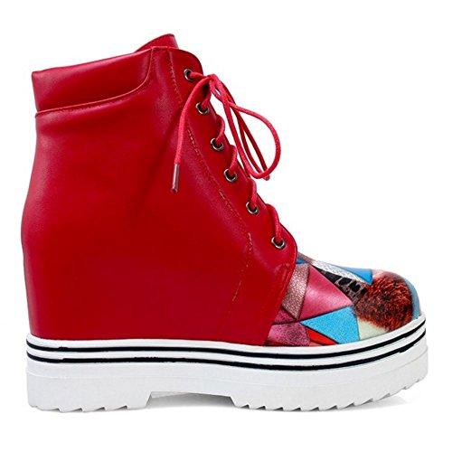 Stivali Red Height Zeppa Donna Increasing RAZAMAZA Stringate 2571 Stivaletti Moda dzFqwq1