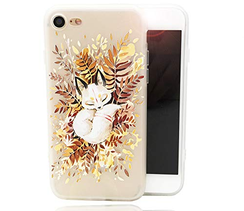 iPhone 8 7 Case, Cute Sleeping Animal Design Print Matte Dropproof Soft TPU Thicker Protective Cover Funny Pattern Clear Skin Novelty Bumper Back Case for iPhone 7 iPhone 8, Fox Leaves Heap