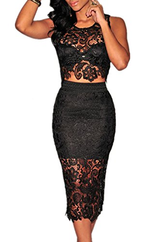 Omine Women's Floral Lace Skirt Set Illusion See Through Sheer Lace Party Dress Black Large