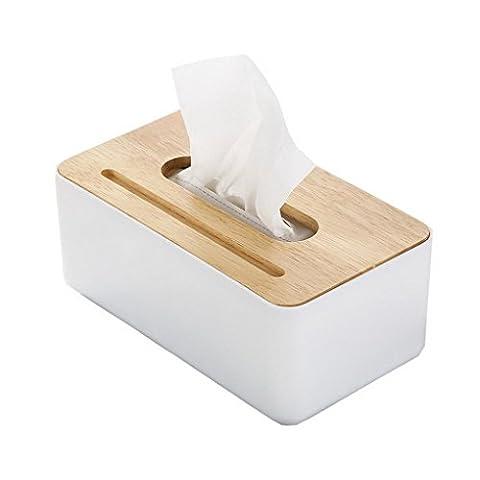 Restbuy Oak Cap Tissue Box Cover Toilet Paper Holder Dispenser for Your Home, Bathroom and Office