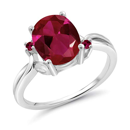 Gem Stone King 14K White Gold Red Created Ruby Women's Ring 2.53 Ct Oval (Size 6)