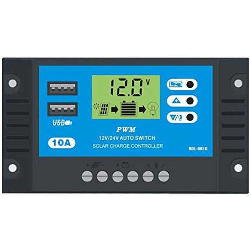 Eachbid 10A 12V 24V LCD Display PWM Solar Charge Controller Dual USB Solar Panel Charger