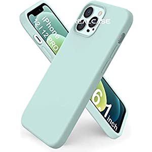 REALCASE Mobile Cover, Liquid Silicone Case Back Cover for Apple iPhone 12 | 12 Pro (S-Mint Green)