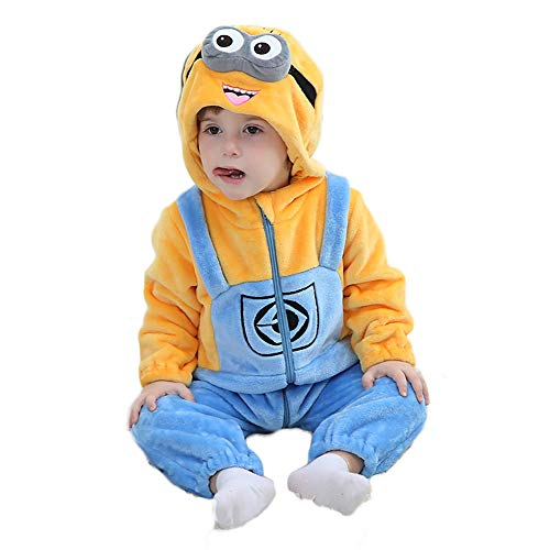 Unisex Baby Flannel Romper Animal Onesie Costume Hooded Cartoon Outfit Suit (Minions, 80)