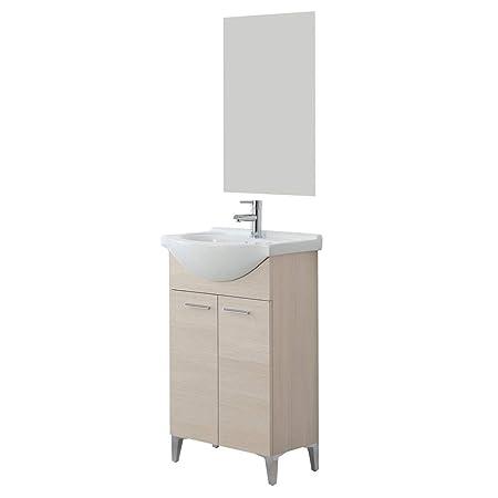 Mobile Bagno A Specchio.Mobile Bagno Moderno A Terra Per Bagno Piccolo Colore Larice 56 Cm