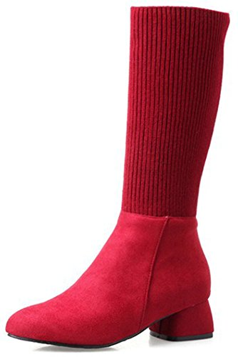 Easemax Women's Fashion Pull On Round Toe Mid Chunky Heel Faux Suede Mid Calf Booties Red YwdLK