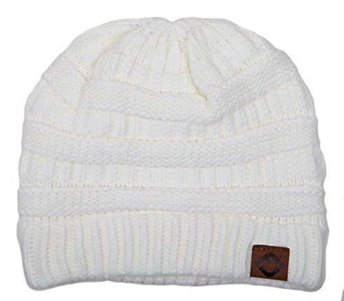 F1-6020a.25 FJ Beanie Slouchy Warm Knit Funky Junque Winter Hat - Ivory -