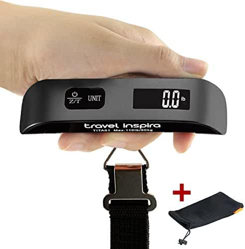 Travel Inspira Digital Hanging Postal Luggage Scale Rubber Paint Technology White Backlight LCD Display 110LB /50 Kgs