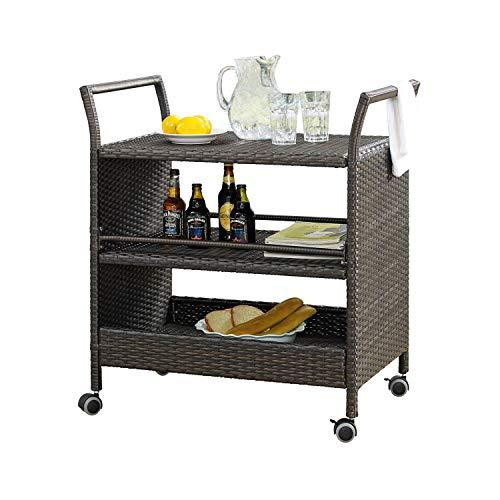 (Rimba Patio Outdoor Wicker Serving Bar Carts )