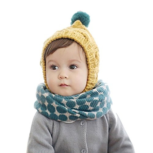Babybekleidung Schals Longra neue Herbst Winter Kinder Kragen Baby Schal Boys und Girls cartoon Kids O ring Kind Hals Schals( 40*40cm, 2-10 years) (blue)