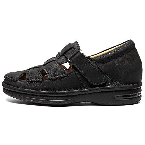 Scarpe 7 Sandalo Uomo Fino nero Sportivi in da all'aperto a Estivi Traspiranti cm H71T73V011D Chiuse Pelle Beach CHAMARIPA Pescatore Sandali 7XwAna