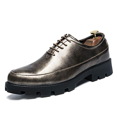 Resistente da Classic Casual Men's Business e Spessa Pelle Sportive Verniciata Cricket Scarpe in Scarpe Oxford Light Gold Fashion pUUqx67w