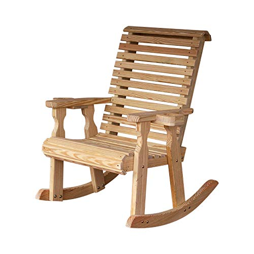 Amish Heavy Duty 600 Lb Roll Back Pressure Treated Rocking Chair With Cupholders Unfinished