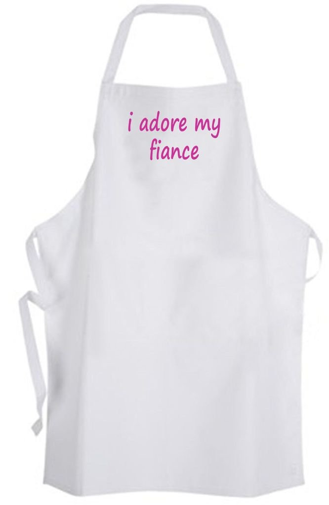 I adore my fiance – Adult Size Apron – Wedding Marriage Husband Wife Bride Groom