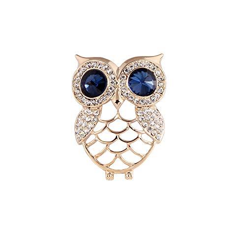 Zoest Gold Tone Crystal Rhinestones Hollow Cute Owl Bird Brooch pins