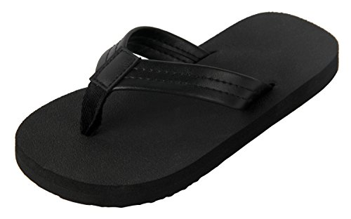 4HOW Unisex Flip Flops Sandal For Little Kid Black Size 1M (1 Flip Flops)