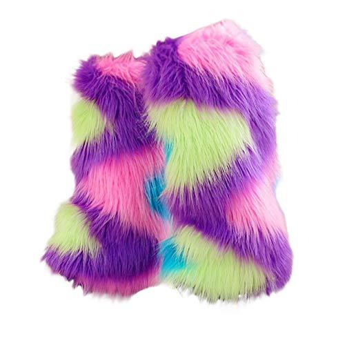 Women's Cozy Winter Furry Faux Fur Leg Warmers Warm Boot Cuffs Cover Costume Accessory (Boot Fur Faux Sleeve)
