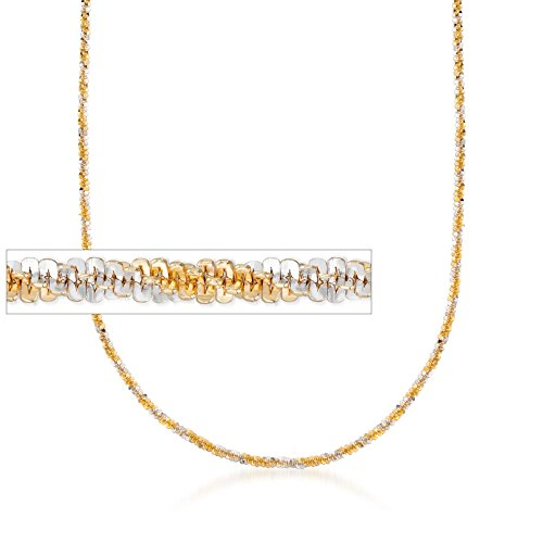 2.5mm Two-Tone Sterling Silver Crisscross Chain Necklace (18kt Over Sterling Silver Cross)