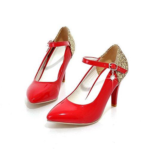 AgooLar Damen Mikrofaser Gemischte Farbe Schnalle Spitz Zehe Hoher Absatz Pumps Schuhe, Rot, 41