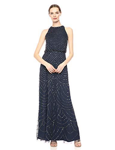 Adrianna Papell Women's Halter Art Deco Beaded Blouson Dress, Navy, 12 from Adrianna Papell