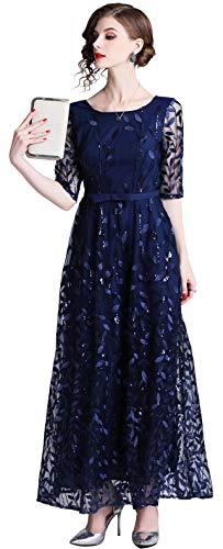 (Ababalaya Women's Elegant Scoop Neck Half Sleeve Embroidery Mesh Lace Maxi Formal Party Gown,6349Navy Blue,Tag M = US Size 2)