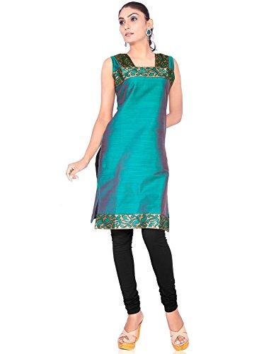 IndusDiva Women's Sea Green Silk Cotton Straight Cut Kurti