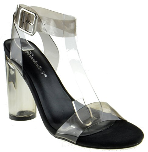 Vienna 01 Womens Clear Chunky Heel Ankle Buckle Platform Black 11 - Clear Wedge