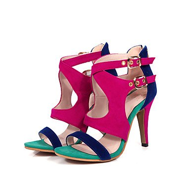 LvYuan Tacón Stiletto-Zapatos del club-Sandalias-Oficina y Trabajo Vestido Fiesta y Noche-Vellón-Negro Azul Rojo Blue