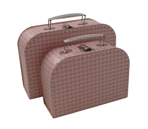 kidSTYLE Gingham Mini Suitcases, Pink/White, Set of 2 (Mini Suitcase)