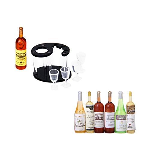 (NATFUR Mini Wine Beer Bottle and Wine Shelf for 1/12 Dollhouse Dining Room)