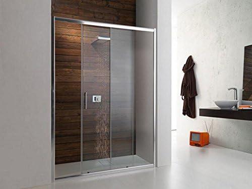 Tamanaco - Cabina de ducha con puerta corredera de cristal de 6 mm y perfiles cromados: Amazon.es: Hogar