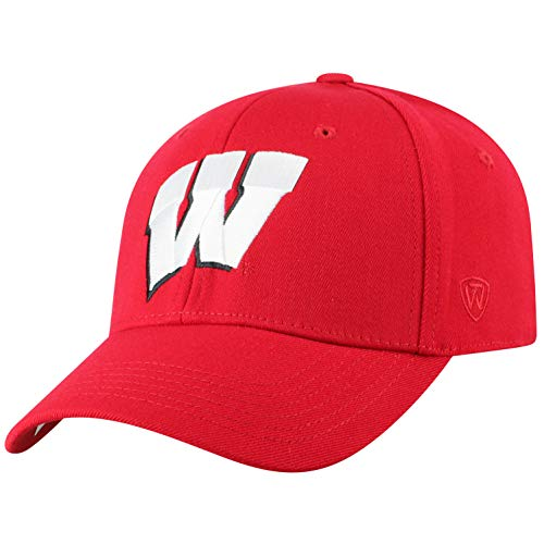 Top of the World Wisconsin Badgers Men's Memory Fit Hat Icon, Red, One Fit
