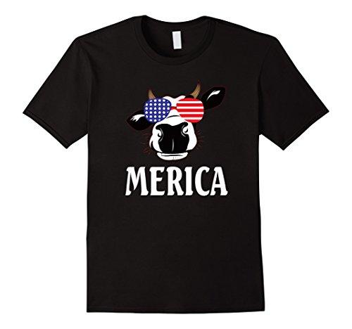 Mens Merica Cow Sunglasses USA Patriotic T-Shirt Small - Sunglasses Cow