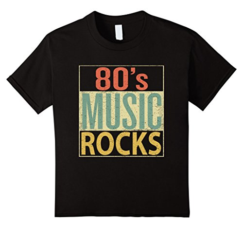 Kids 80s Music Rocks Shirt. Vintage 80s Style Retro Colors TShirt 12 (80s Style For Girls)