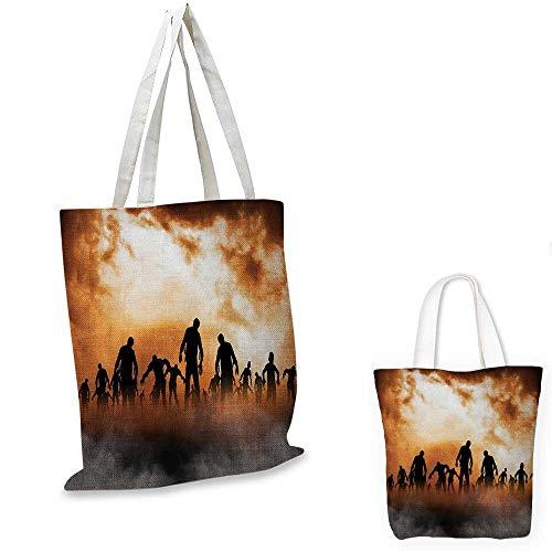 Halloween canvas messenger bag Zombies Dead Men Walking Body in the Doom Mist at Night Sky Haunted Theme Print canvas beach bag Orange Black 16