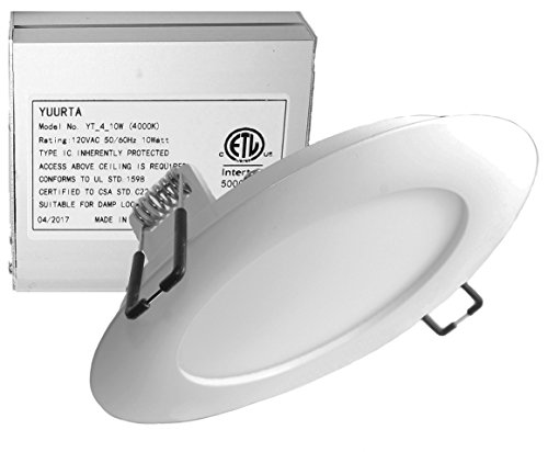 YUURTA 4-Inch 10W 120V Recessed Ceiling LED Light Dimmable Retrofit Ultra-Thin Downlight with Remote Driver in Junction Box Round Slim Panel ETL Listed IC Rated (4000K, 1-pack) - Light Side Mount Fluorescent Strip