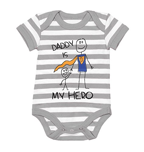 TeeStars - Daddy Is My Hero - Super Dad Gift for Father's Day Baby Bodysuit 6M gray/white (Baby Super Hero)