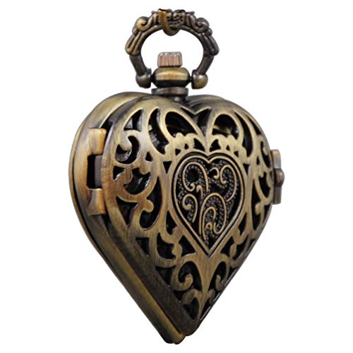 ampunk Pocket Watch Heart Harry Potter Locket Style Pendant Necklace Chain in Gift Box(Bronze) ()