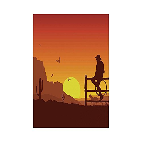 - Polyester Garden Flag Outdoor Flag House Flag Banner,Western,Silhouette of Cowboy in Wild West Sunset Landscape American Culture Image Artsy Print,Burnt Orange,for Wedding Anniversary Home Outdoor Gar
