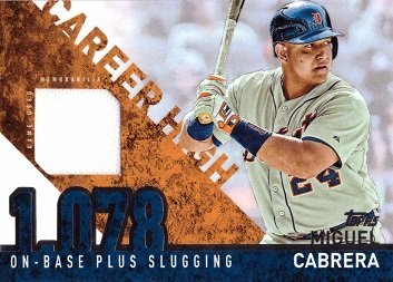 2015 Topps Career High Relics #CHR-MC Miguel Cabrera Game Worn Jersey Baseball Card - Series 2
