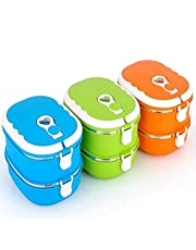 1/2 Layer Lunch Box Thermos For Hot Food Kids, Rectangle Thermal for Food, Stainless Steel Lunch Container Lunch Box (2 Layer,Green)