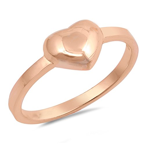 (Rose Gold-Tone Puffed Heart Promise Ring New 925 Sterling Silver Band Size 5)