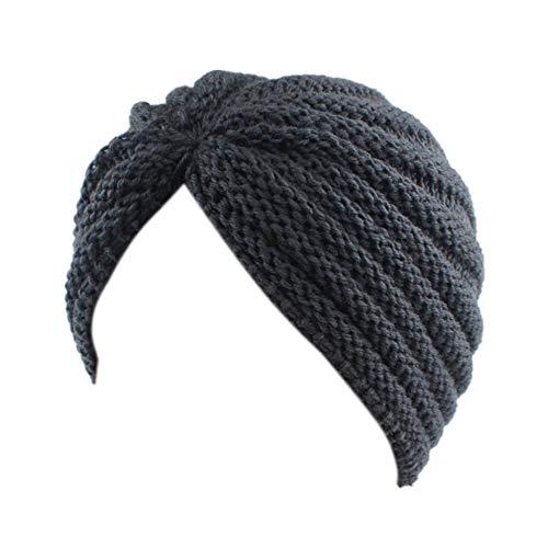 Fxhixiy Women Winter Hat Warm Headband Cross Twist Knit Cap Beanies Sleep Chemo Turban Headwear Cancer Patients (Dark Gray)