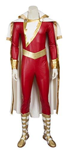 Shazam Costumes (Mtxc Men's Captain Marvel Cosplay Costume Shazam Full Set Size X-Small Red)